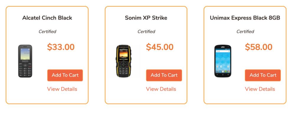 Captura de pantalla de los teléfonos móviles Twigby