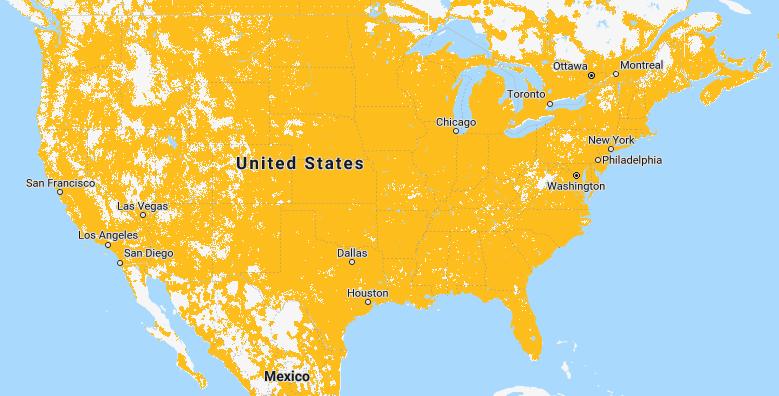 Mapa de cobertura de Sprint