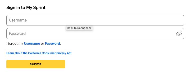 Sitio web de pago de facturas de Sprint