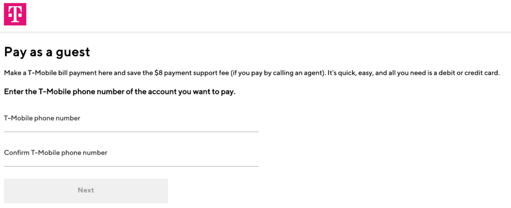 Página de pago de invitado de T-Mobile
