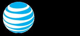 El logotipo de Internet de AT&T con un globo terráqueo con rayas azules y blancas