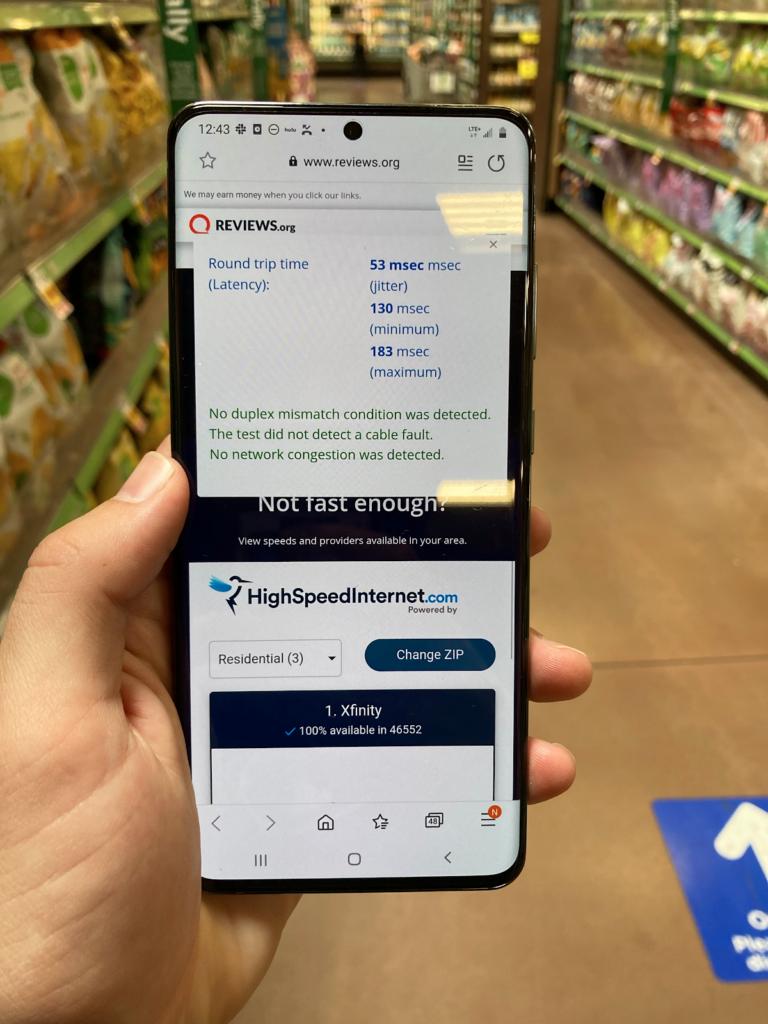 Detalles de la prueba de velocidad del supermercado de Verizon