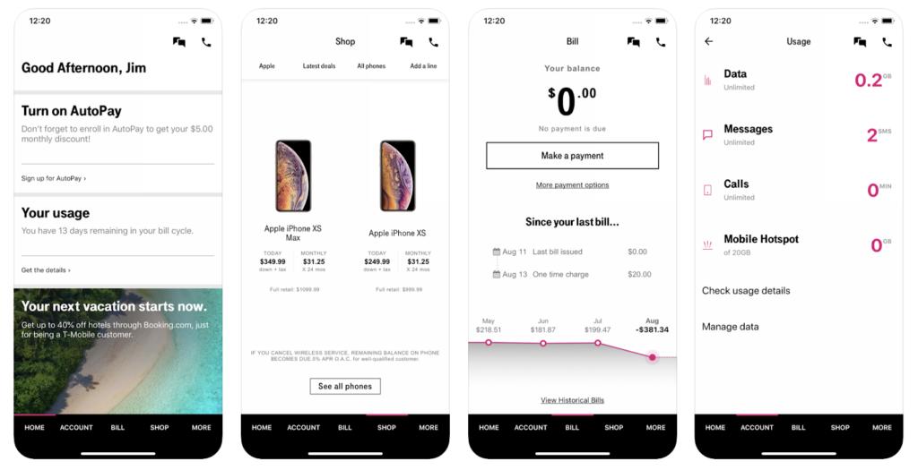 Captura de pantalla de la aplicación My T-Mobile