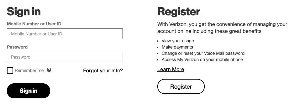 Captura de pantalla de la página de pago de facturas de Verizon.