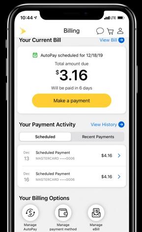 Teléfono con la aplicación My Sprint Bill Pay