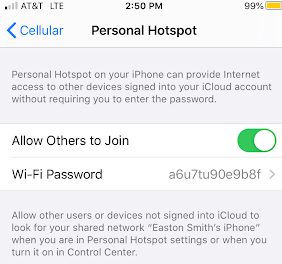 Captura de pantalla de la pantalla de configuración para iPhone de AT&T