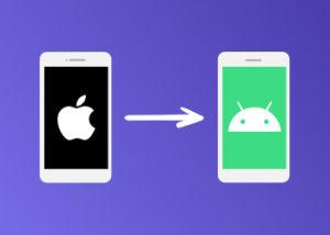 Imagen que muestra el teléfono Apple con la flecha hacia el teléfono Android