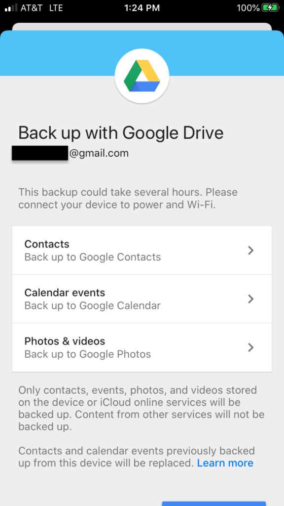 Captura de pantalla de la copia de seguridad de Google Drive