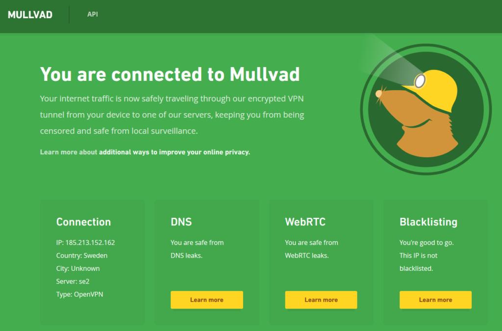 Pantalla de conexión VPN de Mullvad
