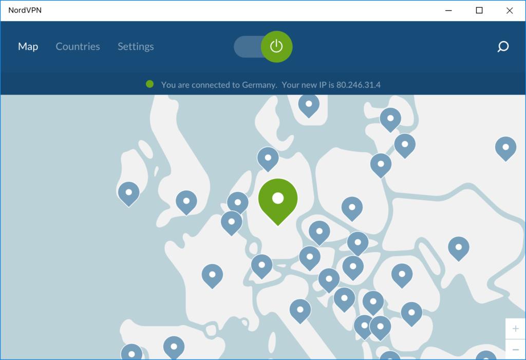 Mapa de servidores de NordVPN en Europa