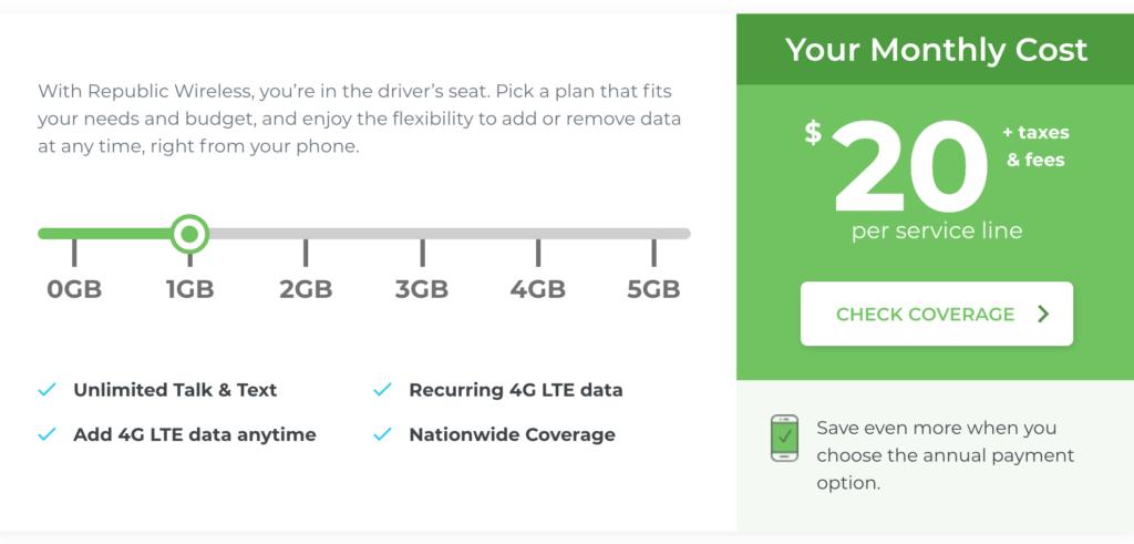 Captura de pantalla de selección de datos de Republic Wireless