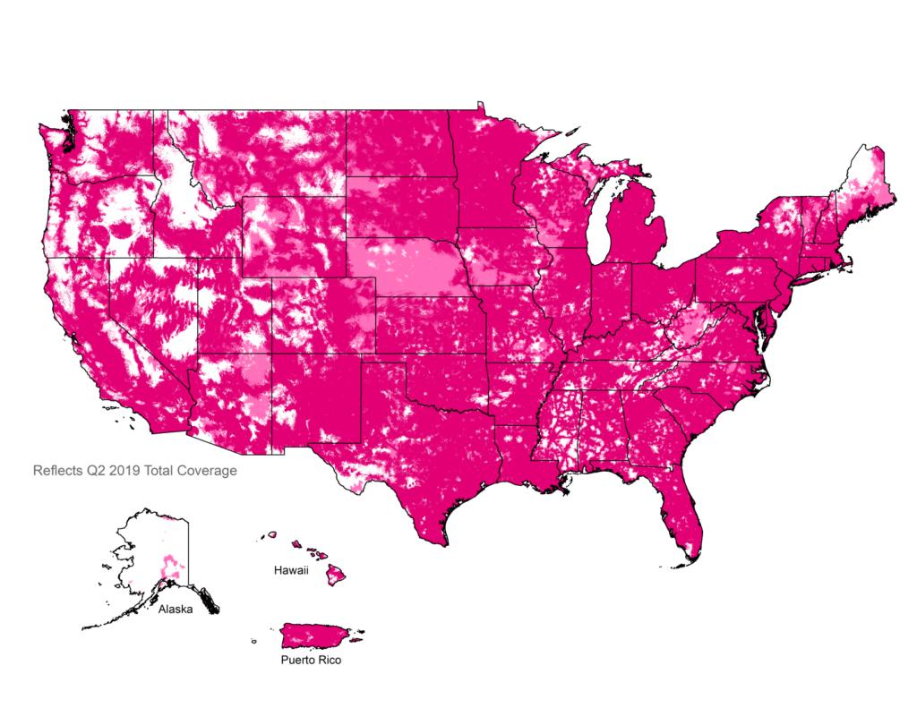 Mapa de cobertura de T-Mobile