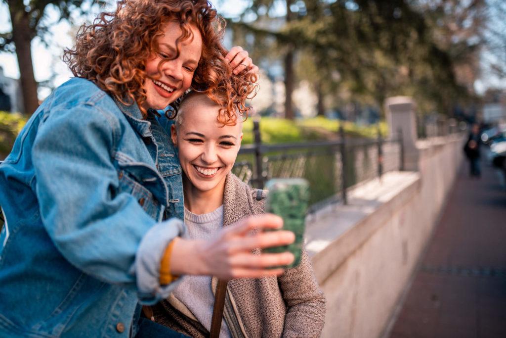 two people selfie